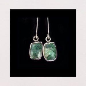Jewelry - Natural Genuine Emerald & Sterling Silver Earrings